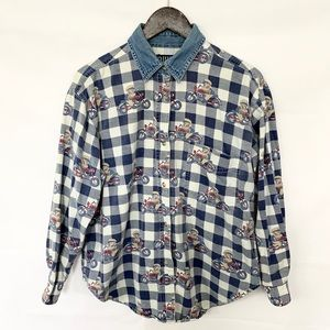 Quizz Vintage Plaid Bear on Motorcycle Button Up